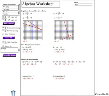 Algebra worksheet generator for mac