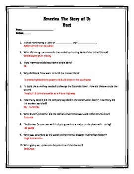 America the story of us worksheets episode 3
