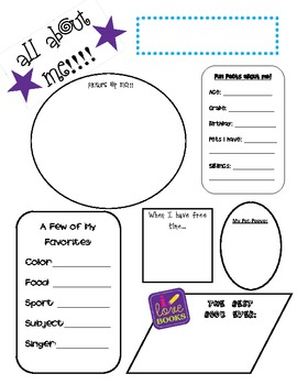 All about me worksheet for high school students