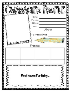 character profile for any novel by trueblueteacher | tpt