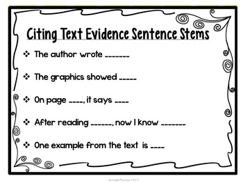 Citing textual evidence worksheet