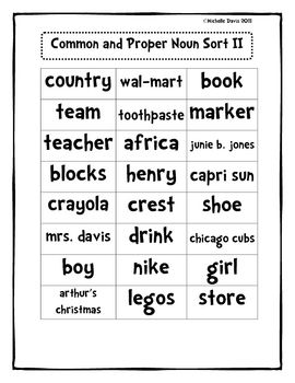 Common nouns worksheet 3rd grade