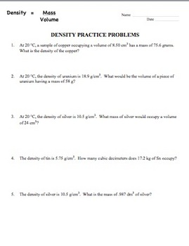 Density practice worksheet 8 1 answers