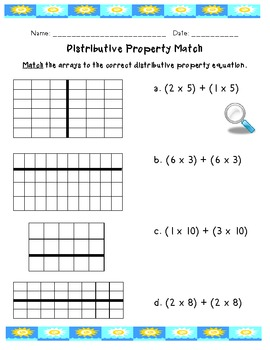 Distributive property using area worksheet answers