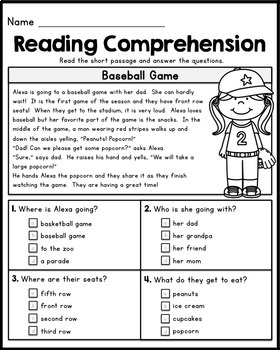 Free reading comprehension worksheets for 1st and 2nd grade