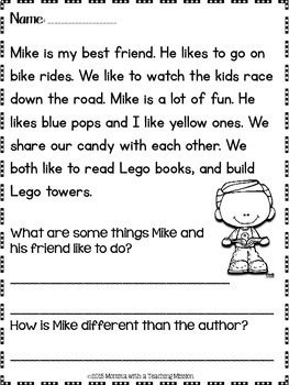 First grade worksheets reading and writing