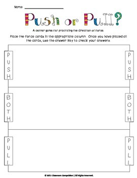 Forces and motion worksheets 2nd grade