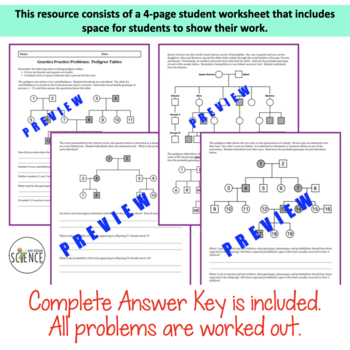 Genetics practice problems pedigree tables worksheet answers