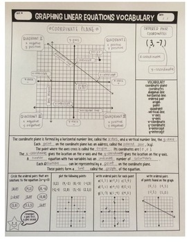 Graphing linear equations and inequalities worksheet answers