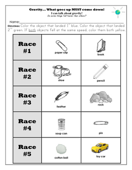 Gravity worksheets for kindergarten