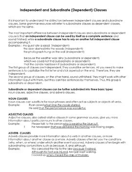 Clauses worksheet with answers pdf