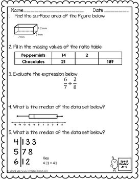 Coloring math worksheets for 6th graders