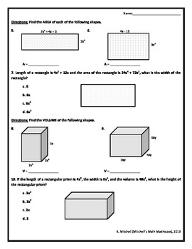 Area and volume worksheets kuta