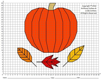 Coordinate graphing picture worksheets pumpkin