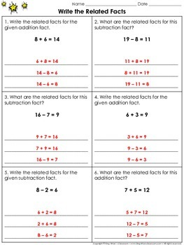 related addition and subtraction facts worksheets  fit slim  related facts write the related facts practice sheets related addition