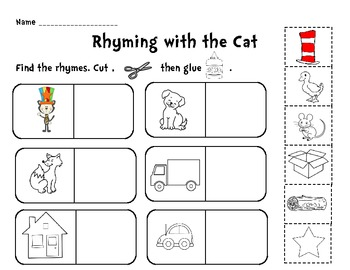 Free rhyming worksheets for kindergarten cut and paste