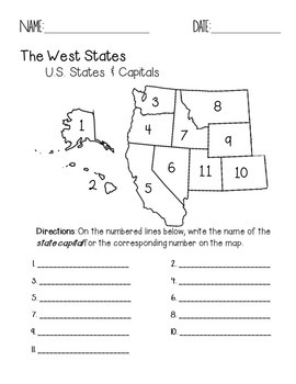 The West Region States And Capitals Quiz Pack By Faith And