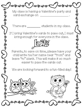 Day Party and Card Exchange Letter to Parents *FREE*