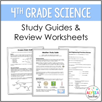 Earth science worksheets for 4th grade