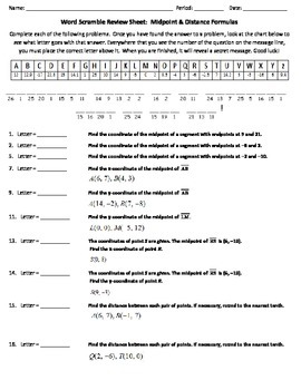 Distance and midpoint worksheet pdf