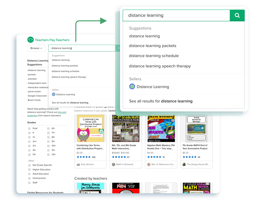 "Typing ""distance learning"" into the search-bar of TeachersPayTeachers.com"