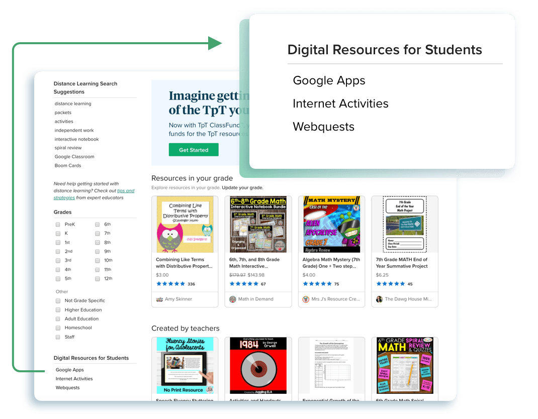 "Using one of the ""Digital Resources for Students"" filters"