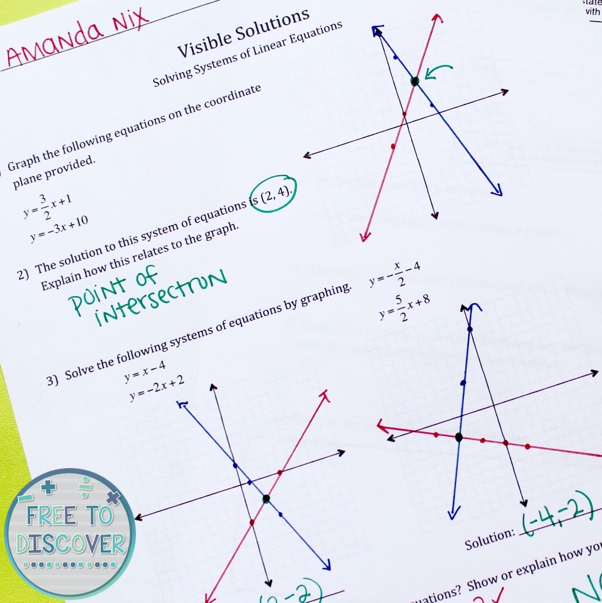 Teaching Systems of Linear Equations: Tips, Strategies & a Freebie