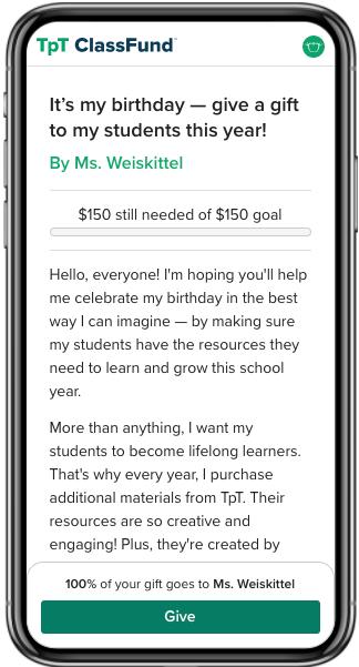 ClassFund Birthday Campaign screenshot
