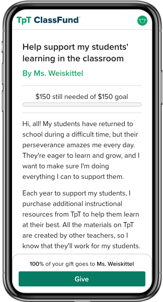ClassFund In-Person Instruction screenshot