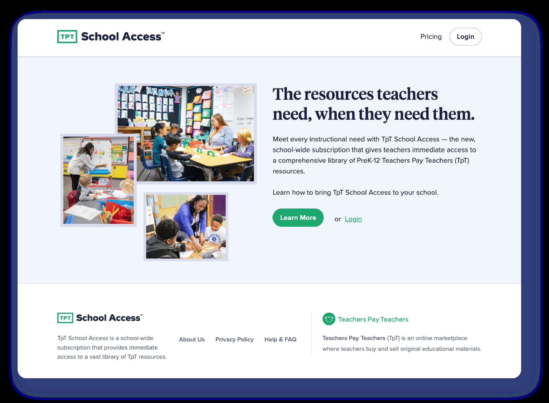 TpT School Access Homepage screenshot