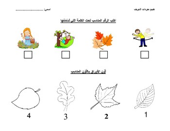 Fall vocabulary (Assessment) تقييم فهم مفردات الخريف