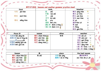 中文季节天气单元语法练习 Seasons and weather grammar practice game sheet