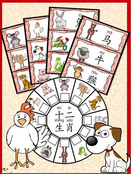 十二生肖Chinese Zodiac  in simplified and traditional Chinese