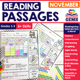 November Reading Passages - Thanksgiving, Veterans Day, Elections