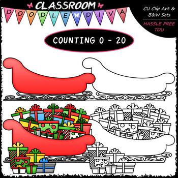 (0-20) Christmas Counting Clip Art & B&W Bundle 1 (4 Sets)
