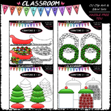 (0-20) Christmas Counting Clip Art & B&W Bundle 1 (4 Sets)