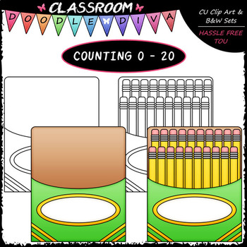 (0-20) Counting A Pack of Pencils - Sequence, Counting & Math Clip Art & B&W Set