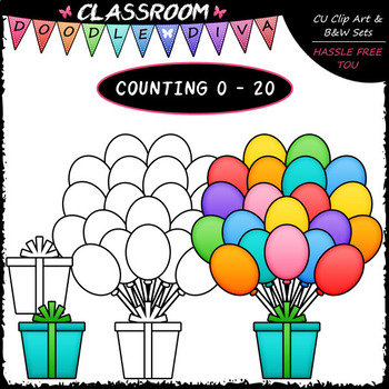 (0-20) Counting Balloons - Sequence, Counting & Math Clip Art & B&W Set