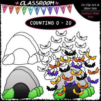 (0-20) Counting Bats - Sequence, Counting & Math Clip Art & B&W Set