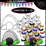 (0-20) Counting Bats - Sequence, Counting & Math Clip Art