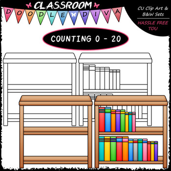 (0-20) Counting Books - Sequence, Counting & Math Clip Art & B&W Set