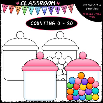 (0-20) Counting Candy - Sequence, Counting & Math Clip Art & B&W Set