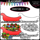 (0-20) Counting Christmas Presents - Sequence, Counting & Math Clip Art & B&W