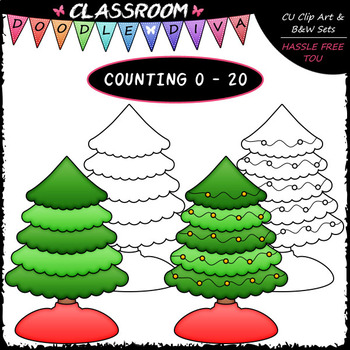 (0-20) Counting Christmas Tree Lights - Sequence, Counting & Math Clip Art & B&W