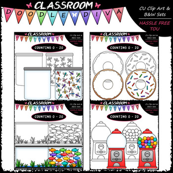 (0-20) Counting Clip Art & B&W Bundle 1 (4 Sets)