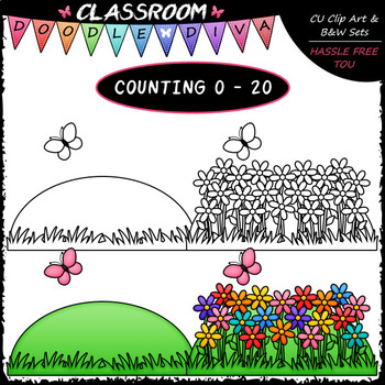 (0-20) Counting Colorful Flowers - Sequence, Counting & Math Clip Art & B&W Set