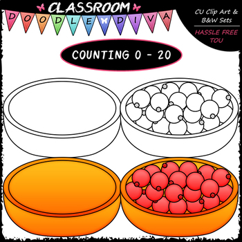 (0-20) Counting Cranberries - Sequence, Counting & Math Clip Art & B&W Set