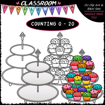 (0-20) Counting Cupcakes - Sequence, Counting & Math Clip Art & B&W Set