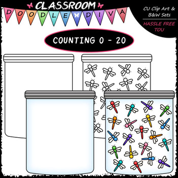 (0-20) Counting Dragonflies - Sequence, Counting & Math Clip Art & B&W Set