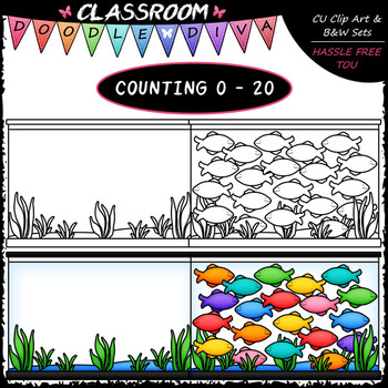 (0-20) Counting Fish - Sequence, Counting & Math Clip Art & B&W Set